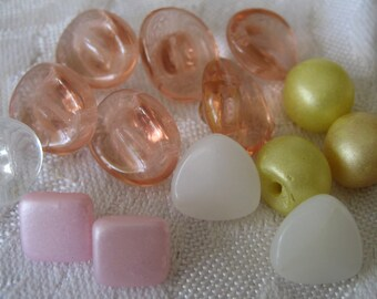 Lot Sets of 16 VINTAGE Small White Pink & Yellow Glass BUTTONS
