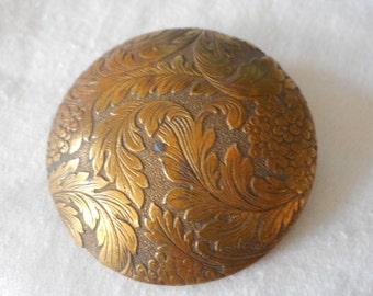 Large ANTIQUE Floral Dome Shape Gold Metal BUTTON