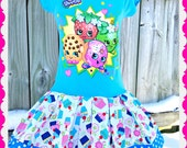 girls Shopkins dress Apple Blossom Smart Cookie Cupcake Lippy Lips Dress 4/5 7/8 10/12 and 14/16