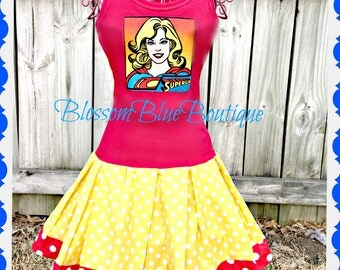 Super Girl dress Marvel 2t 3t 4t 5t 4/5 6/6X 7/8 10/12 14/16 ready to ship