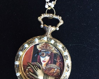 Resin Graphic Pendant Necklace in Steampunk Fantasy Victorian style Pearls Watch Parts