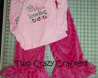 Little Miss Love Bug Shirt and Minky Pants Set, Chevron, Embroidery, Lady Bug