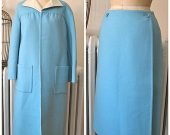 Bill Blass | Vintage 1960s Blue and Ivory Double Faced Wool Coat and Skirt Set - Classic American Sportswear - Wrap Around Skirt