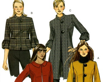 Butterick B5253 Easy Jacket Coat with Length, Collar and Sleeve Variations Size 16 18 20 22 24 Uncut Sewing Pattern 2008