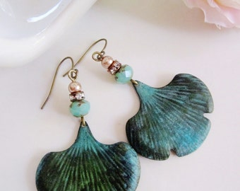 Ginko Leaf Earrings, Verdigris Patina, Teal Czech Bead, Botanical Earrings, Bohemian, Vintage style, Gardendiva