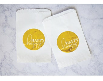 Gold Foil Gift Bags-Happy Happy