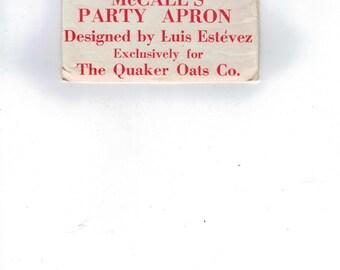 1960s Vintage Sewing Pattern McCalls Sample Party Apron Luis Estevez UNCUT 1967 60s Premium Quaker Oats  99