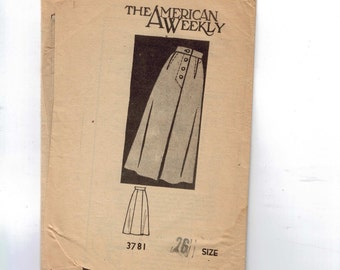 1950s Vintage Sewing Pattern Mail Order 3781 Misses Button Front Skirt Waist 26 60s