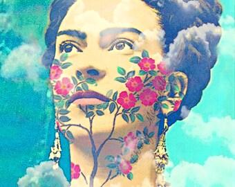 Frida Kahlo Art Poster / All Sizes Instant Digital Download Flowers Clouds Mexican Style Frida Kahlo Image Frida Kahlo Portrait Blue DIY