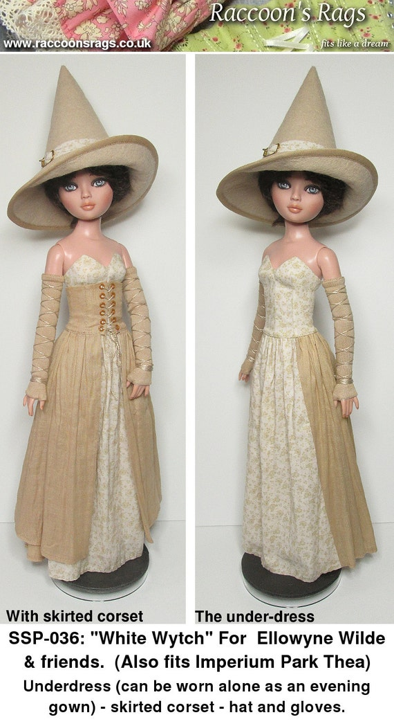 """STRAIGHTFORWARD SEWING Pattern SSP-036 """"White Wytch"""" Dress, skirted corset, gloves and hat. Everything is lined.  for Ellowyne & friends"""