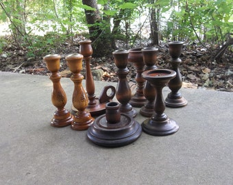 9 Wooden Candle Holders Vintage Wood Candlesticks Wood Candleholders Wedding Decorations Table Décor Rustic Lighting Set of 9 Candle Holders