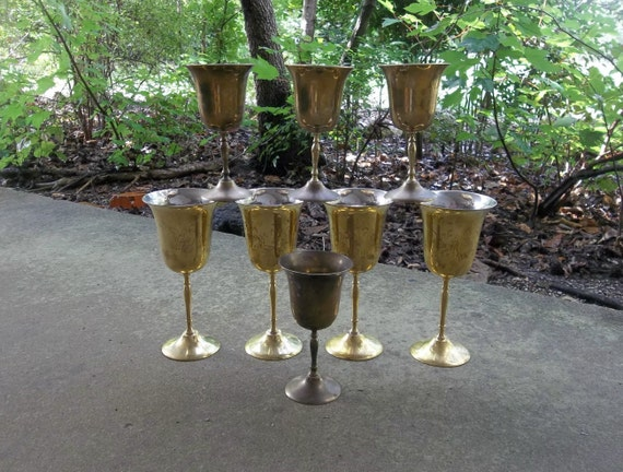 8 Vintage Brass Goblets Rustic Wedding Decorations Table Decor  Bride Groom Toast French Country Set of 7