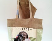 Tote Bag, Recycled Poultry Feed Bag, burlap-lined, eco-friendly Maine made gift