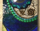 Stained Glass and Resin Mosaic Wall Hanging Glitter Blue Green Sea