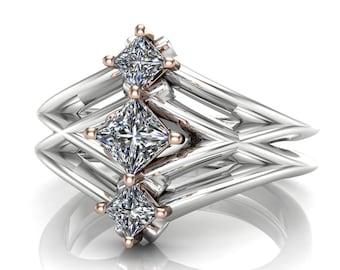 Princess Cut Diamond Engagement Ring, Geometric 3-Stone