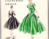 """ORIGINAL Vintage Sewing Pattern 1950's Ladies Evening Cocktail Gown Vogue 862 Couturier Size 32"""" Bust - Free Pattern Grading E-book Included"""