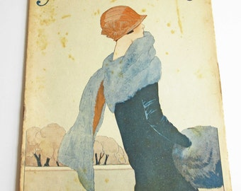 Vintage French Magazine Mode Pratique December 1923 1920's Fashion Sewing and Knitting Antique