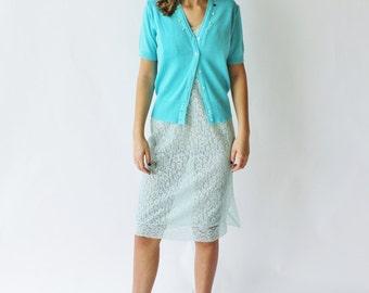 Vintage Aqua Blue Short Sleeved Cardigan with Rose Detail