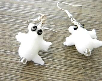 Ghost Lampwork Earrings White Glass Dangle Earrings Halloween Earrings