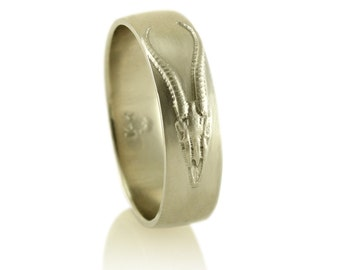 Antelope Skull White Gold Mens Wedding Band, Mens White Gold Wedding Ring in 14k Gold, Mens 14k Gold Ring, or Palladium Wedding Band