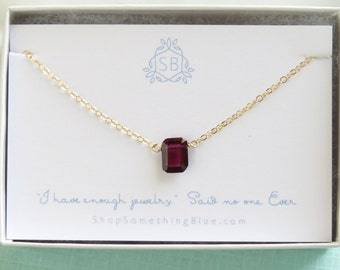 Garnet Necklace • Emerald Cut Garnet • January Birthday Gift • Garnet Birthstone • Red Faceted Rectangle • Deep Red Garnet Pendant