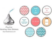 88 Hershey Kiss Labels  - Wedding Shower Favor - Aqua, Coral, Peach, and Teal Wedding - Bridal Shower Favor - Hershey Kiss Stickers