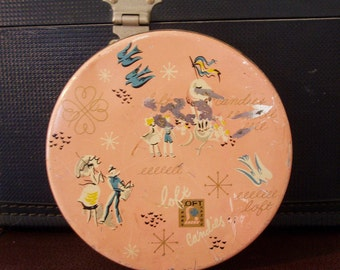 Vintage Loft Candy Tin, Mid Century, French Graphics, Pale Pink Tin with Gold & Blue, Round Tin with Images of People, Bluebirds, Carriages