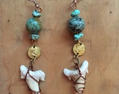 Turquoise Earrings // Boho Jewelry // Gypsy Bohemian // Dangle Earrings // Pirate Costume // Shark Teeth Tooth // Gold Coins Coin