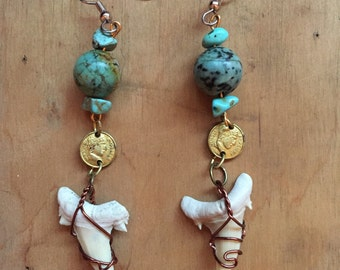 Turquoise Earrings // Boho Jewelry // Gypsy Earrings // Bohemian // Statement Earrings // Pirate Costume // Shark Tooth Jewelry
