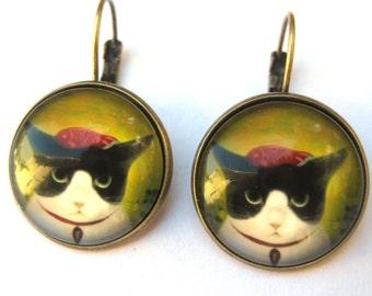 Cat Earrings Lever Back Glass Dome Earrings -  Koi Fish Tuxedo Cat Kitty