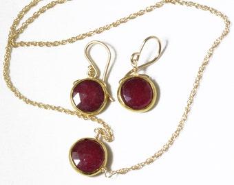 Genuine Ruby 2-piece SET Ruby Necklace Ruby Earrings Ruby Jewelry July Birthstone Precious Rubies BZ-SET-105-Ruby/g