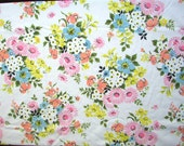 Vintage 1970's  Double, Full Size Flat Sheet, Flower Garden Design, Flower Bouquets, Unused,  Vintage Bedding, Recycled Fabric,