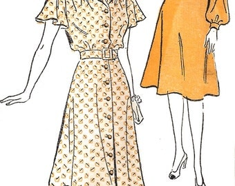 1940s Dress Pattern New York Brand Vintage Sewing Flutter Sleeve Unprinted FF Women's Misses Size 16 Bust 34 Inches