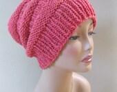 Rose/ Light Raspberry Slouch in Wool/ Llama/Silk Handknit by Swedishknit