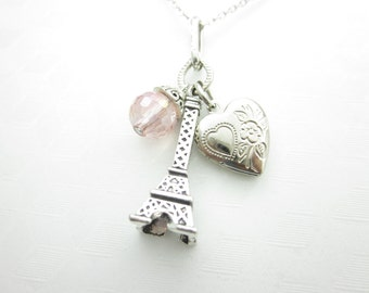 Eiffel Tower Necklace, Paris France Necklace, Romantic Paris, Heart Locket and Eiffel Tower Charms, Silver Finish, With Pink Crystal X028