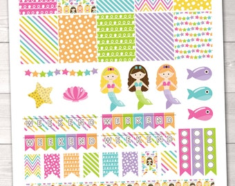 DIY Printable Mermaid Planner Stickers Instant Download PDF with Checkboxes Weekend Banners Flags & Borders