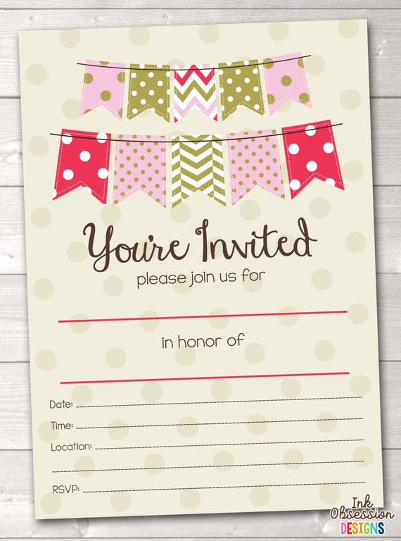 items similar to fill in blank party invitations printable pdf, Party invitations