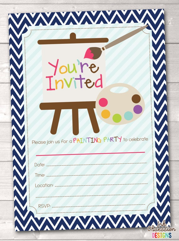 fill in art painting party invitations printable kids birthday, Party invitations