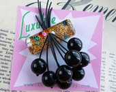 Colour pop! - 1940s 50s confetti lucite style novelty black cherry brooch by Luxulite