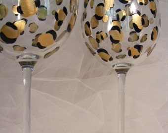 elegant  hand painted gold leopard print wine glasses - oversize wine glasses