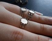 vintage bright silver rings with settings 10 mm x 8 mm - double adjustable band - old new stock vintage jewelry making supplies
