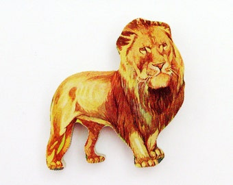 1960s Lion Brooch - Pin / Unique Gift Under 50 / Upcycled Vintage Hand Cut Wood Jewelry / Tawny Brown Wood Jungle Animal