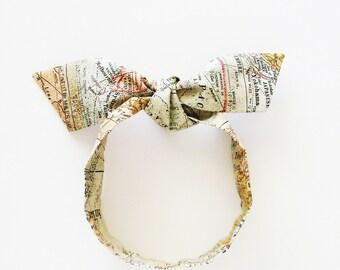 Old World Maps Head Scarf / Hair Accessory / Neutral Colors Neck Scarf / Handbag or Walker Adornment / Rockabilly Scarf / Gift Under 20