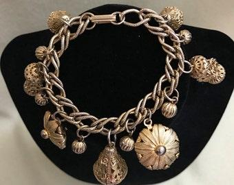 vintage Chunky Lantern Oriental Charm Bracelet. filigree charm bracelet