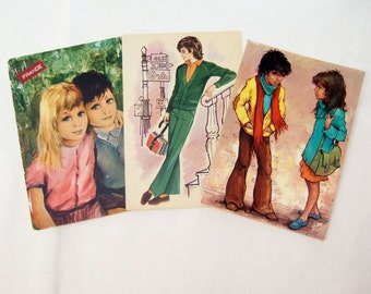 French Boys and Girls - Three Kitsch 1960s Vintage Used Postcards