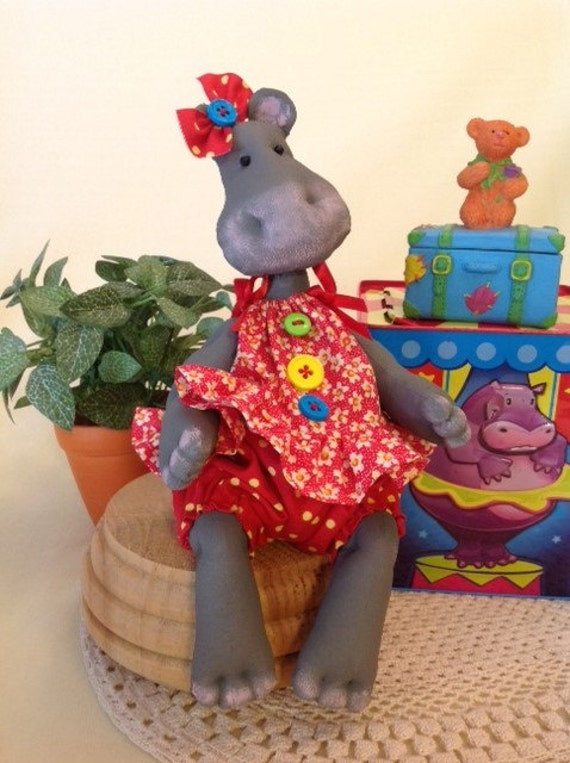 Mailed Cloth Doll Pattern Baby Girl Hippo Sewing Pattern