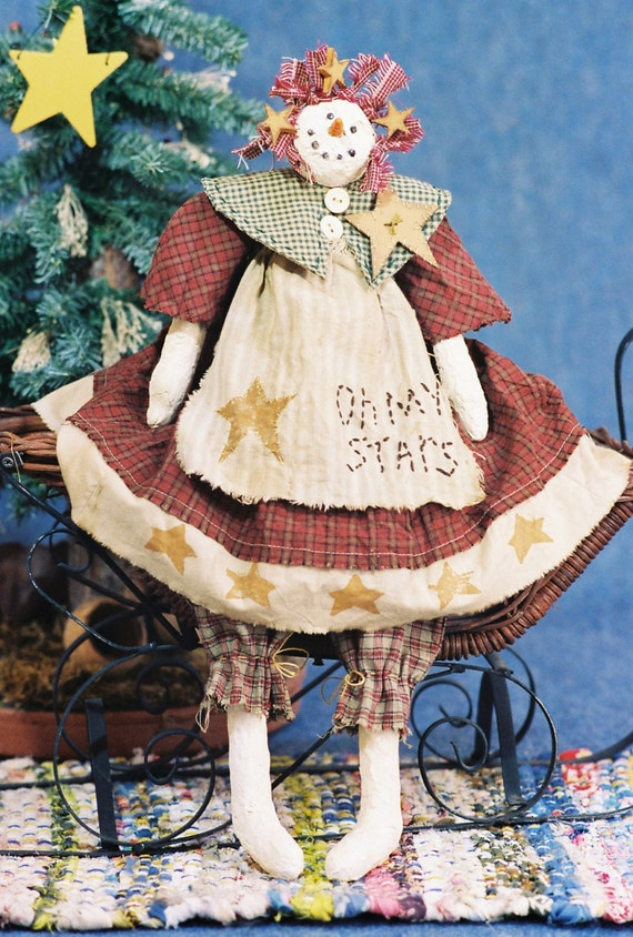Mailed Cloth Doll Pattern 19in Country Christmas Snowgirl