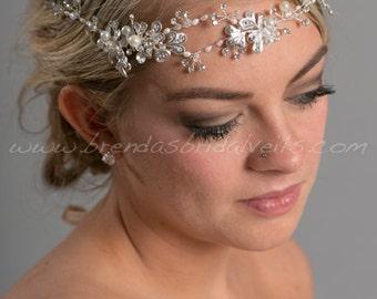 Bridal Hair Vine, Boho Headband, Rhinestone and Pearl Headband - Tara