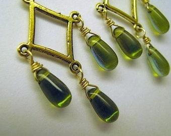 Olivine Green Chandelier Earrings, Green Chandelier Earrings, Olive Green Earrings