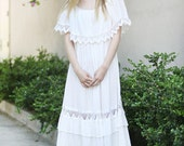 Vintage by AsA -- 70s hippie boho lace detail wedding dress size S/M/L